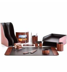 Настольный набор Премиум, 13 предметов, кожа Full Grain Tan/Cuoietto шоколад