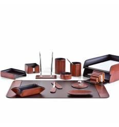 Настольный набор Премиум, 14 предметов, кожа Full Grain Tan/Cuoietto шоколад