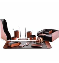 Настольный набор Премиум, 15 предметов, кожа Full Grain Tan/Cuoietto шоколад
