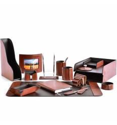 Настольный набор Премиум, 16 предметов, кожа Full Grain Tan/Cuoietto шоколад