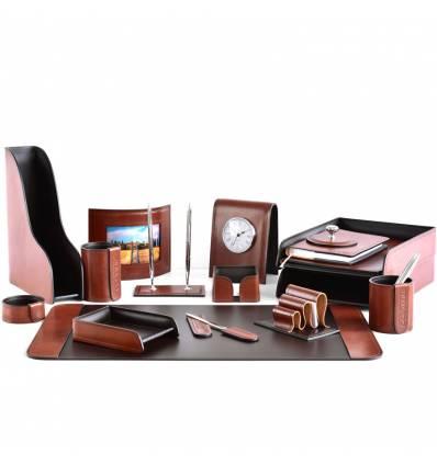 Настольный набор Премиум, 17 предметов, кожа Full Grain Tan/Cuoietto шоколад