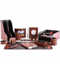 Настольный набор Премиум, 18 предметов, кожа Full Grain Tan/Cuoietto шоколад