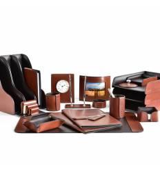Настольный набор Премиум, 22 предмета, кожа Full Grain Tan/Cuoietto шоколад