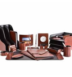 Настольный набор Премиум, 23 предмета, кожа Full Grain Tan/Cuoietto шоколад