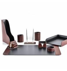 Настольный набор Премиум, 9 предметов, кожа Full Grain Brown/Cuoietto черный