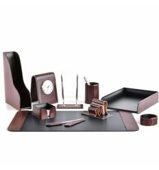 Настольный набор Премиум, 10 предметов, кожа Full Grain Brown/Cuoietto черный