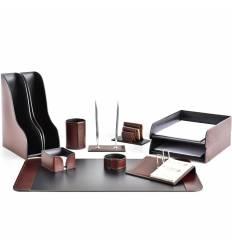 Настольный набор Премиум, 11 предметов, кожа Full Grain Brown/Cuoietto черный