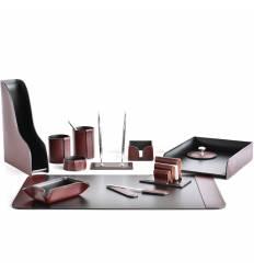 Настольный набор Премиум, 12 предметов, кожа Full Grain Brown/Cuoietto черный