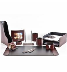 Настольный набор Премиум, 13 предметов, кожа Full Grain Brown/Cuoietto черный
