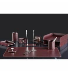 Настольный набор Люкс, 11 предметов, кожа Full Grain Brown