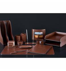 Настольный набор Люкс, 15 предметов, кожа Full Grain Tan