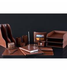 Настольный набор Люкс, 17 предметов, кожа Full Grain Tan