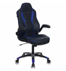 Кресло Бюрократ VIKING-3/BL+BLUE игровое, экокожа, черный/синий