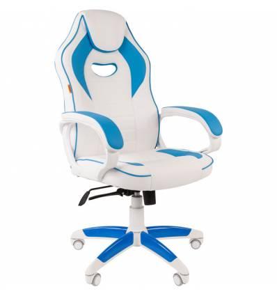 Кресло CHAIRMAN GAME 16 White Blue геймерское, экокожа, цвет белый/голубой