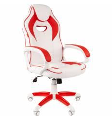 Кресло CHAIRMAN GAME 16 White Red геймерское, экокожа, цвет белый/красный