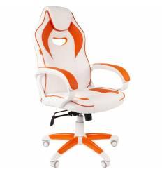 Кресло CHAIRMAN GAME 16 White Orange геймерское, экокожа, цвет белый/оранжевый