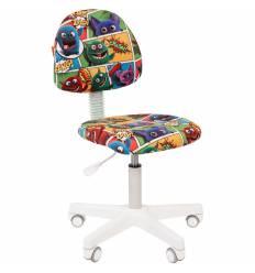 Кресло CHAIRMAN KIDS 104 Monstry детское, белый пластик, ткань, с рисунком монстры