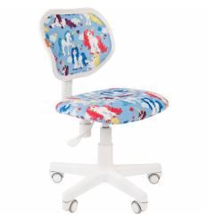Кресло CHAIRMAN KIDS 106 Unicorn детское, белый пластик, ткань, с рисунком единороги