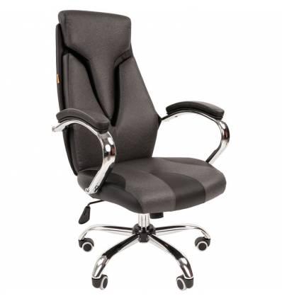 Кресло CHAIRMAN 901 Grey для руководителя, экокожа, цвет серый/черный