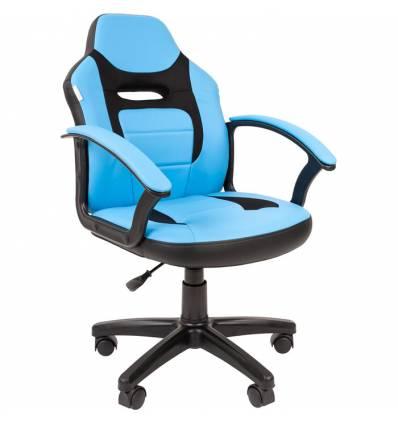Кресло CHAIRMAN KIDS 110 BLUE детское, ткань/экокожа, цвет голубой/черный