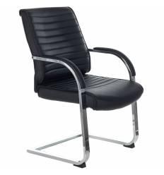 Кресло Бюрократ T-8010N-LOW-V/BLACK для посетителя, хром, экокожа, цвет черный