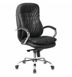 Кресло Бюрократ T-9950/BLACK для руководителя, хром, кожа, цвет черный