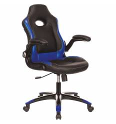 Кресло Бюрократ VIKING-1N/BL-BLUE игровое (детское), экокожа, цвет черный/синий