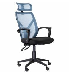 Кресло UTFC Store Астон М-711 для руководителя, сетка/ткань, цвет черный/голубой