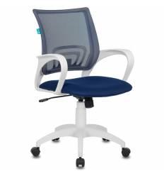 Кресло Бюрократ CH-W695N/DB/TW-10N для оператора, белый пластик, сетка/ткань, цвет синий