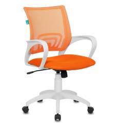Кресло Бюрократ CH-W695N/OR/TW-96-1 для оператора, белый пластик, сетка/ткань, цвет оранжевый