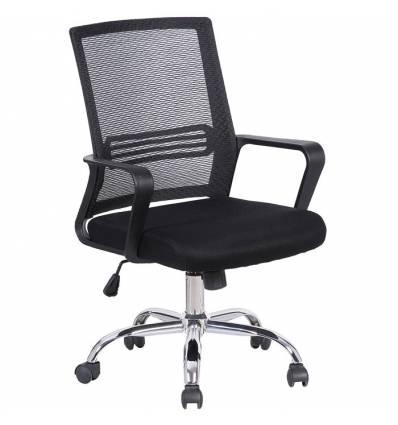 Кресло BRABIX Daily MG-317 для оператора, хром, сетка/ткань, черное