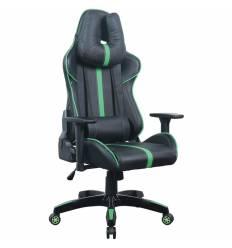 Кресло BRABIX GT Carbon GM-120 игровое, две подушки, экокожа, черное/зеленое
