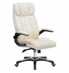 Кресло LMR-107B/cream для руководителя, экокожа, цвет кремовый