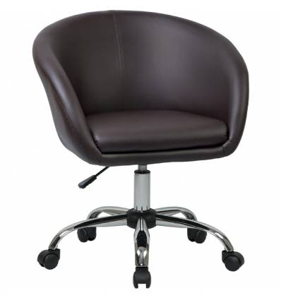 Кресло LM-9500 коричневый для персонала, хром, экокожа