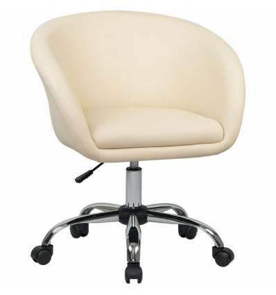 Кресло LM-9500 кремовый для персонала, хром, экокожа