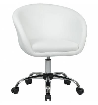 Кресло LM-9500 белый для персонала, хром, экокожа