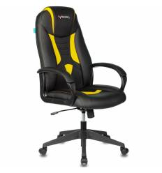 Кресло Бюрократ VIKING-8N/BL-YELL игровое, экокожа, цвет черный/желтый