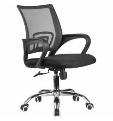 Кресло Riva Chair 8085 JE черный для оператора, хром, цвет зеленый/черный, спинка сетка