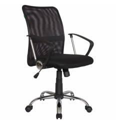 Кресло Riva Chair 8075 черный для оператора, хром, спинка сетка