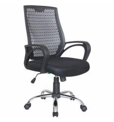 Кресло Riva Chair 8081 черный для оператора, хром, пластиковая спинка