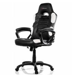 Кресло Arozzi Enzo - White, компьютерное (для геймеров), экокожа, цвет черный/белый