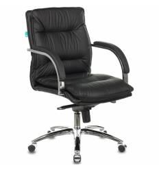 Кресло Бюрократ T-9927SL-LOW/BLACK для руководителя, хром, кожа, цвет черный