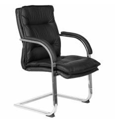Кресло Бюрократ T-9927SL-LOW-V/BLACK для посетителя, хром, кожа, цвет черный