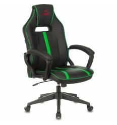 Кресло Бюрократ VIKING ZOMBIE A3 GN игровое, экокожа, цвет черный/зеленый