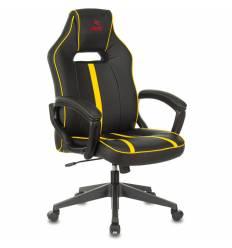 Кресло Бюрократ VIKING ZOMBIE A3 YEL игровое, экокожа, цвет черный/желтый