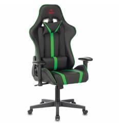 Кресло Бюрократ VIKING ZOMBIE A4 GN игровое, экокожа, цвет черный/зеленый