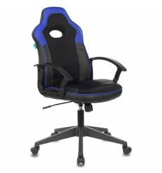 Кресло Бюрократ VIKING-11/BL-BLUE игровое, экокожа/ткань, цвет черный/синий