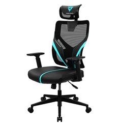 Кресло ThunderX3 YAMA1 Black-Cyan для геймеров, сетка/экокожа, цвет черный/голубой