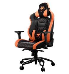 Кресло COUGAR Throne Black-Orange компьютерное игровое, экокожа/ткань, цвет черный/оранжевый