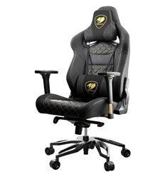 Кресло COUGAR Throne Royal компьютерное игровое, экокожа/ткань, цвет черный с золотой строчкой